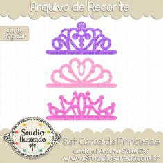 Princess Crown Set, Set Coroa de Princesas, Coroas, Princesinha Sofia, Branca de Neve, Cinderela, Bela Adormecida, A Bela e a Fera, Aurora, Pequena Sereia, Tiara, Crowns, Sofia the First, Snow White, Cinderella, Sleeping Beauty, Beauty and the Beast, Little Mermaid, Coronas, Sofia the First, Blancanieves, Cenicienta, La Bella Durmiente, La Bella y la Bestia, Aurora, La Sirenita, Diadema, Corte Regular, Regular Cut, Silhouette, Arquivo de Recorte, DXF, SVG, PNG