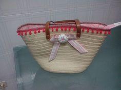 cesta forrada e decorada. Bem simples  Laço-Flor