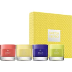 Molton Brown Garden Bloom Mini Candles Collection ($58) ❤ liked on Polyvore featuring home, home decor, candles & candleholders, no color, flower candle, molton brown, jasmine scented candles, patchouli candles and rose candle