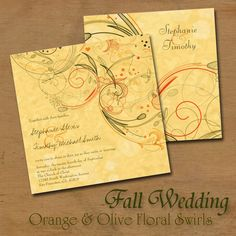 Orange and Olive Green Floral Swirls Fall / Autumn Wedding Invitation that is fully customizable with your infomation!  The colors are just beautiful.