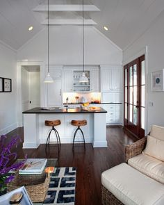 """Photo Credit: John McManus This beautiful farmhouse cottage, is not necessarily considered a tiny home, but it is a """"Tiny Farmhouse . Small White Kitchens, Kitchen Small, Kitchen Ideas, Kitchen Designs, Kitchen Layouts, Room Kitchen, Kitchen Island, Island Bar, Kitchen Floors"""