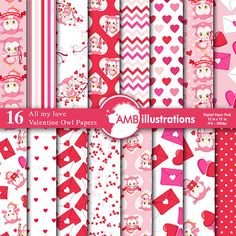 80%OFF Valentine digital papers, Heart digital papers, Valentines Day papers, commercial use, scrapbook, backgrounds, AMB-1181