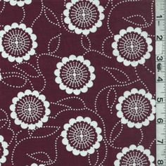 "Burgundy/White Floral Lawn - also not a bad approximation of ""Turkey Red,"" just a bit darker.  The scrolling leaves and stems are a nice touch, but the scale of the flowers may be a bit large. Sold out as of 9/4/14."