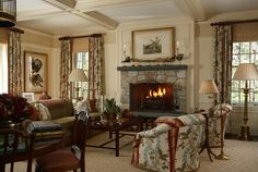 The Enchanted Home: Designer spotlight: Scott Snyder----Bamboo shades with draperies~great room/living room~