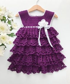 Crochet baby dress Purple baby dress Newborn baby dress Baby shower gift Cotton baby dress Crochet baby dress Purple baby dress Newborn baby dress Baby shower gift Cotton baby dress Mercedes Messina mercedesmessina Beb Welcome nbsp hellip Crochet Dress Outfits, Crochet Toddler Dress, Crochet Girls, Crochet Baby Clothes, Crochet Hats, Booties Crochet, Cotton Crochet, Lila Baby, Baby Boy