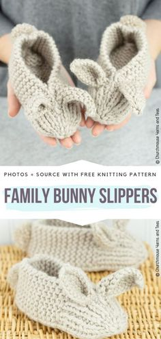Cute Bunny Slippers Ideas Free Knitting Patterns : Family Bunny Slippers Free Knitting Pattern Having cold feet can definitely mess up your day. Therefore I may have found a perfect solution. They are a great accessory for coming chill so Bunny Slippers, Knitted Slippers, Knit Slippers Free Pattern, Crochet Gratis, Knit Crochet, Crochet Socks, Crochet Blankets, Knitting Patterns Free, Crochet Patterns