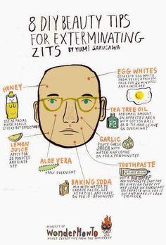 Beauty Tips For Exterminating Zits by Yumi Sakugawa                                   I think i'll really need this:)