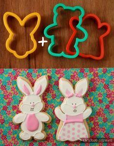 bunny face cutter + teddy bear or ghost cutters = boy and girl bunnies| Klickitat Street