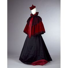 Shoulder Cape Made Of Red Silk Velvet, Trimmed With Silk Ribbons And Black Lace, Accented With Jet Beads - Designed By Mrs. Ball - India   c.1893-1895