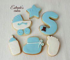 Estrade's cakes: galletas de bebe en azul, decoradas con fondant