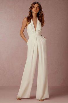 4997b59f06c Elegant Deep V-Neck Sleeveless Summer Slim Sashes Pockets Jumpsuit Rompers  Women Backless Zipper Wide Overalls Fashion Femme