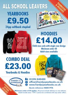 Special offers for Yearbooks and Hoodies :0)