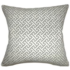 """Quentin Geometric 24-inch Down Feather Throw Pillow Ashes (24"""" x 24""""), Grey, Size 24 x 24"""
