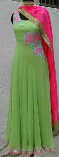 Pink and green Anarkali suit...