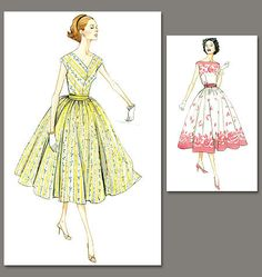 V8789 Misses'/Misses' Petite Dress and Cummerbund | Easy | Vintage 1950s