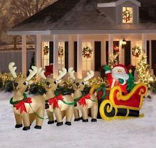 Huge Display 16 Lighted Airn Christmas Inflatable Santa Sleigh Reindeer Outdoor Decorations