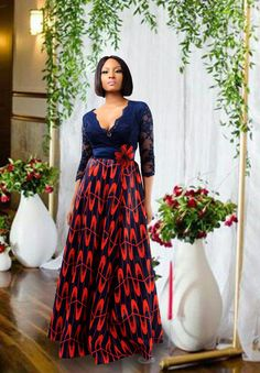 lace sleeves and a full length flowing skirt? you'll only find that on the allure dress by ! here's a photo of the beautiful in it! the dress is available on our site 💓 African Print Dresses, African Print Fashion, African Wear, African Fashion Dresses, African Dress, Tribal Fashion, African Style, Ankara Short Gown, Ankara Gown Styles