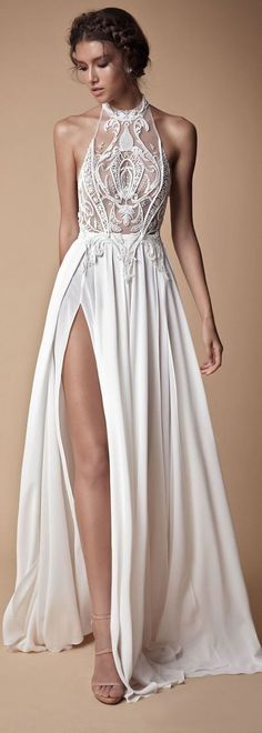 Stunning prom gowns sexy long evening dresses modest white slit prom dress H0139