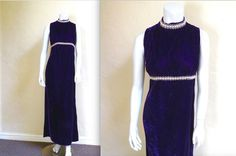 Vintage Late 60s Purple Velvet Maxi Dress w Faux by LolaAndBlack