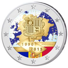 "Andorra ~ 2 Euro ""25 years of customs union with the EU"" ~ Андорра 2 евро 2015 ""25 лет таможенному сотрудничеству с Евросоюзом"""
