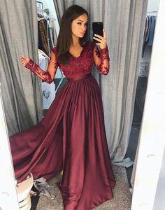 Burgundy lace long prom dress, long sleeve prom dress, bridesmaid dresses,BD1104