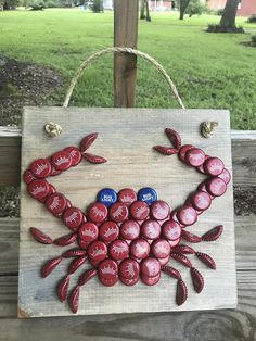 It& crawfish season y& And the popular bottle cap crawfish is back! These are made to order, so you can choose you wood finish! I have a limited supply of red beer caps, so get yours while this lasts! Diy Bottle Cap Crafts, Beer Cap Crafts, Bottle Cap Projects, Beer Cap Art, Beer Bottle Caps, Bottle Top Art, Crab Decor, Bud Light, Diy And Crafts