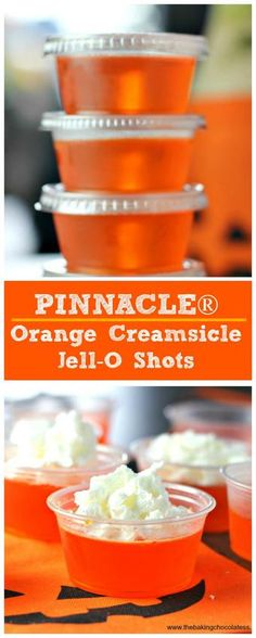 PINNACLE Orange Creamsicle Jell-O Shots - - A jello shot version of a yummy creamsicle using orange Jell-O with Pinnacle Orange Whipped Vodka! Great for parties and get-togethers. Bbq Party, Party Drinks, Cocktail Drinks, Fun Drinks, Yummy Drinks, Yummy Shots, Mixed Drinks, Shots Drinks, Luau Party
