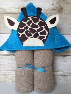 "Boy Giraffe Applique Hooded Bath, Beach Towel 30"" x 54"" by MommysCraftCreations on Etsy"