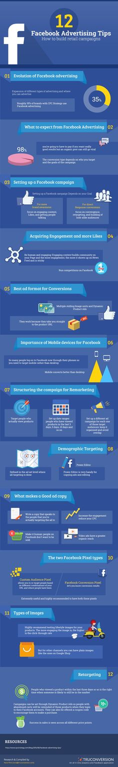 How to Setup and Run a Facebook Ad Campaign Infographic. Topic: online advertising, FB ads.