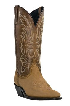 Laredo Womens Kadi Western Cowboy Boots Leather Strap Embroidery Round Toe Black