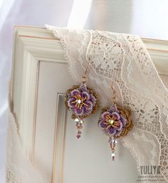 "earrings ""Violet Aura"" #brigteam #earrings #beaded #flower #Purple #golden #swarovski #shabbychic  #sparkle #jewelry #gift $76.00 by @Yuliya"