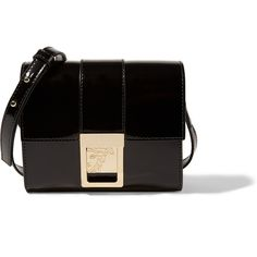 Versace Collection Patent-leather shoulder bag ($570) ❤ liked on Polyvore featuring bags, handbags, shoulder bags, black, black patent handbag, black shoulder bag, versace purses, black purse and patent purse