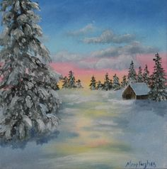 Colors of winter 8 x 8 available here: http://hughesartblog.blogspot.com/2015/10/winter-sunset-snow-painting-8-x-8-by.html