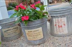 How to add new vintage inspired  labels to old galvanized buckets. From MySalvagedTreasures.com