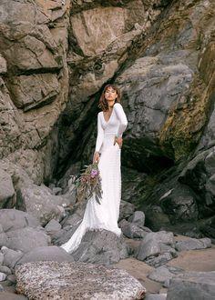 Long Sleeve Lace Boho Bridal Gown | Boho Lace Bridal Gown