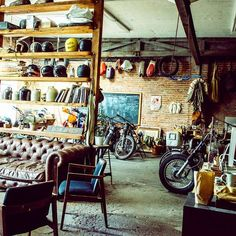 early morning in our shop by @alexandravalenti by land_boys #garage #workshop discover #motomood