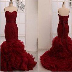 Mermaid Long Wedding Dress, Red Wedding Dress,Wedding Dress Online, New Wedding Dresses 2015