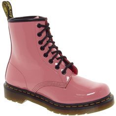 Dr Martens 1460 Acid Pink Patent Lamper Boots (180 BRL) ❤ liked on Polyvore featuring shoes, boots, ankle booties, dr. martens, pink, shiny boots, pink patent leather boots, leather upper boots and chunky booties