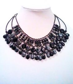 Mixit 2-Tone Jet Black & Blue-Charcoal-Hematite Statement Necklace