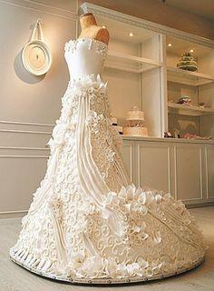 life size wedding dress cake by cake boss Amazing Wedding Cakes, Stunning Wedding Dresses, Amazing Cakes, It's Amazing, Gorgeous Dress, Amazing Weddings, Amazing Ideas, Elegant Wedding, Glamorous Wedding