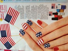 Fourth of July fingernails. 4th of July nail polish.