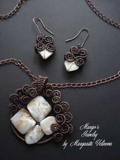 handmade set copper wire and natural stone