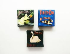 Cute Magnets on Canvas  Vintage Produce Ads  by StinsonPaperCrafts