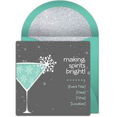 "One of our favorite free Christmas party invitations, ""Winter Cocktails."" Easily personalize and send via email for a holiday cocktail party, or even a Christmas dinner party!"