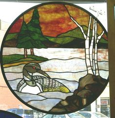 Loon on the Lake stained glass window by www.phoenixstudio.com