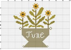 Cross Stitch Pattern Freebie ~ Country chart of June crock of flowers.  Cute primitive design for spring, from Notforgotten Farm's Blog.