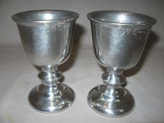 Wilton  RWP Pewter Qty 2 Goblets Chalice Knob Stem USA $14.99