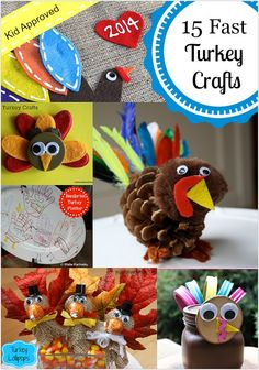 A collection of fast and festive turkey crafts, perfect for kids to create for Thanksgiving