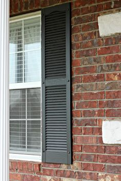 DIY Tutorial for painting shutters. Found our paint color finally. Now time to start another project.get rid of some of the hideous colors inside of our house. Painting Shutters, House Painting, Vinyl Shutters, Painting Cabinets, Painting Tips, Outdoor Projects, Home Projects, Outdoor Decor, Shutter Colors