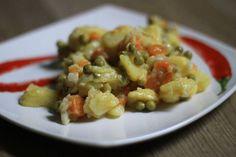 Zdravý bramborový salát Risotto, Chicken, Meat, Ethnic Recipes, Fitness, Food, Essen, Meals, Yemek